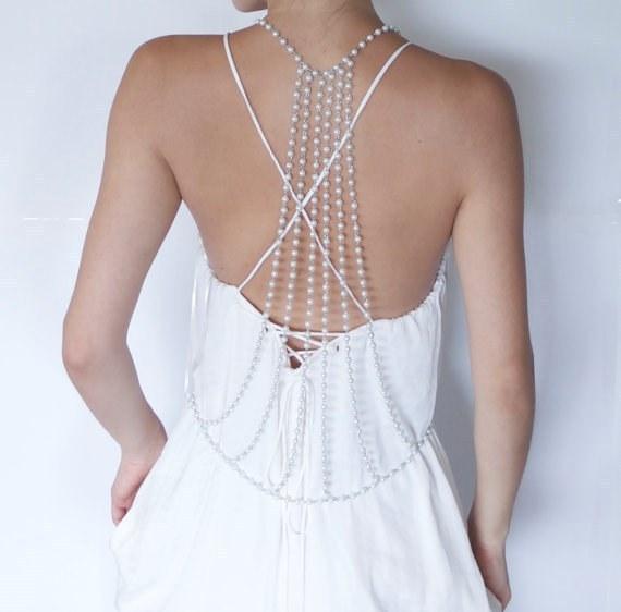 Fashion Designer Metal Alloy Pearl Body Chain Jewelry