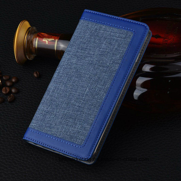 Linen Cloth PU Wallet Cell Mobile Phone Case for iPhone Leather Flip Case