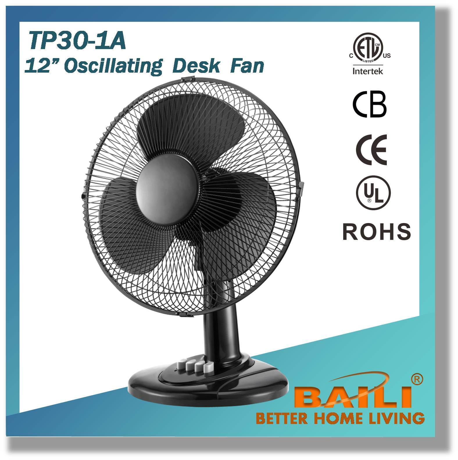 "12"" Easy Detachable and Combinative Desk Fan"