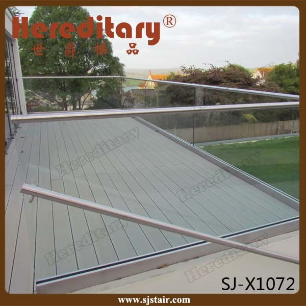 Exterior Aluminum U Channel Frameless Glass Railing for Balcony (SJ-X1072)