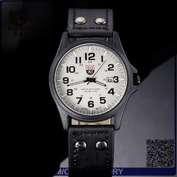 Yxl-549 Fashion Stainless Steel Case Double Buckle Leather Belt Men Wrist Quartz Sport Watch