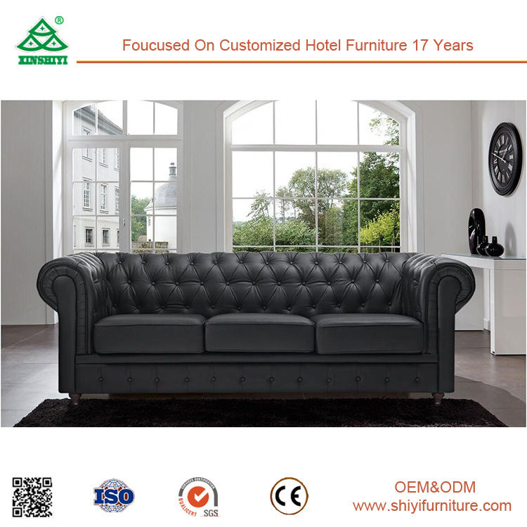Home Furniture Living Room Furniture Black 3 Seater Sofa