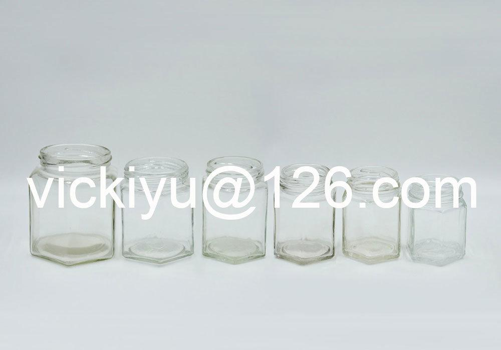 100ml~400ml Hexagon Glass Jars, Food Glass Storaging Jars