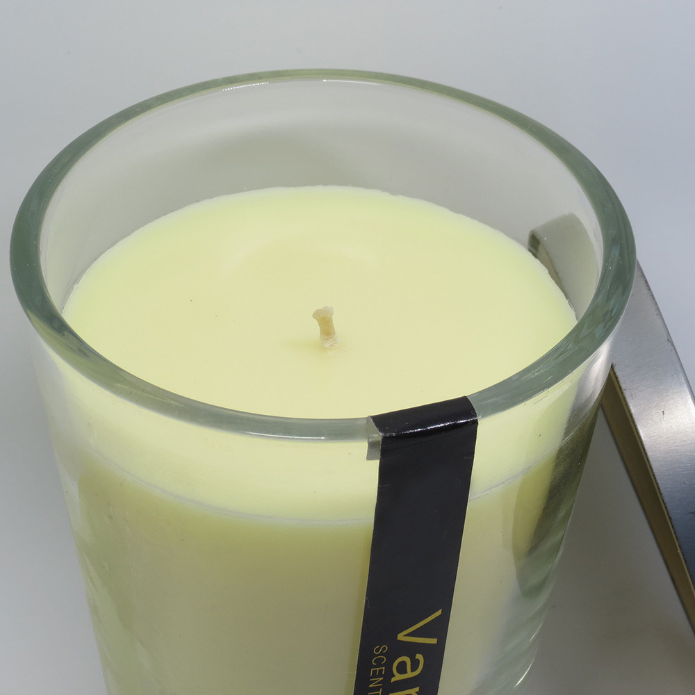 Creamy Vanilla Scented Candle in Glass Jar