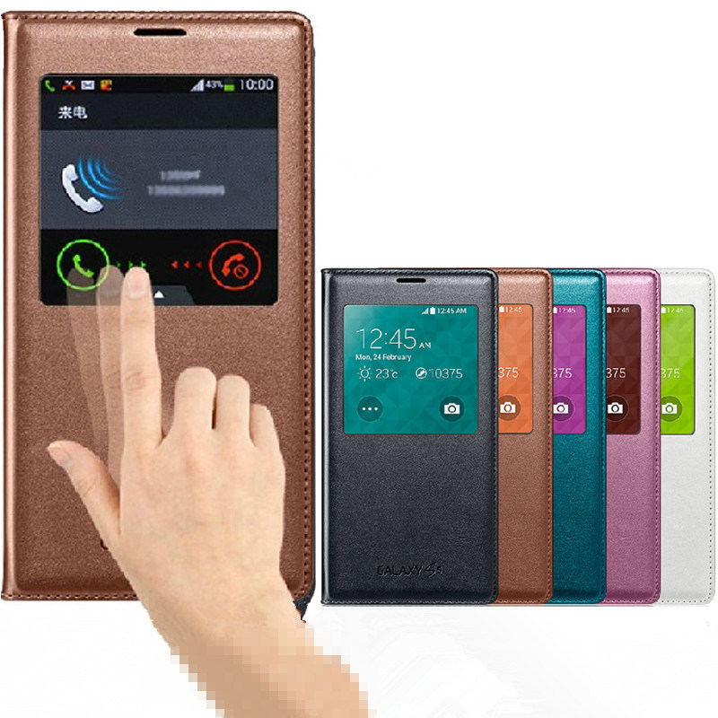 Auto Wakeup/Sleep S View Flip Cover for Samsung S5 I9600
