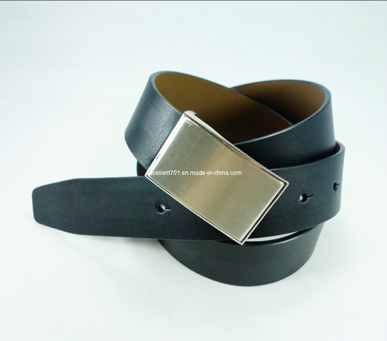 Formal Men′s Leather Belt with Plain Buckle (EU1380-33)