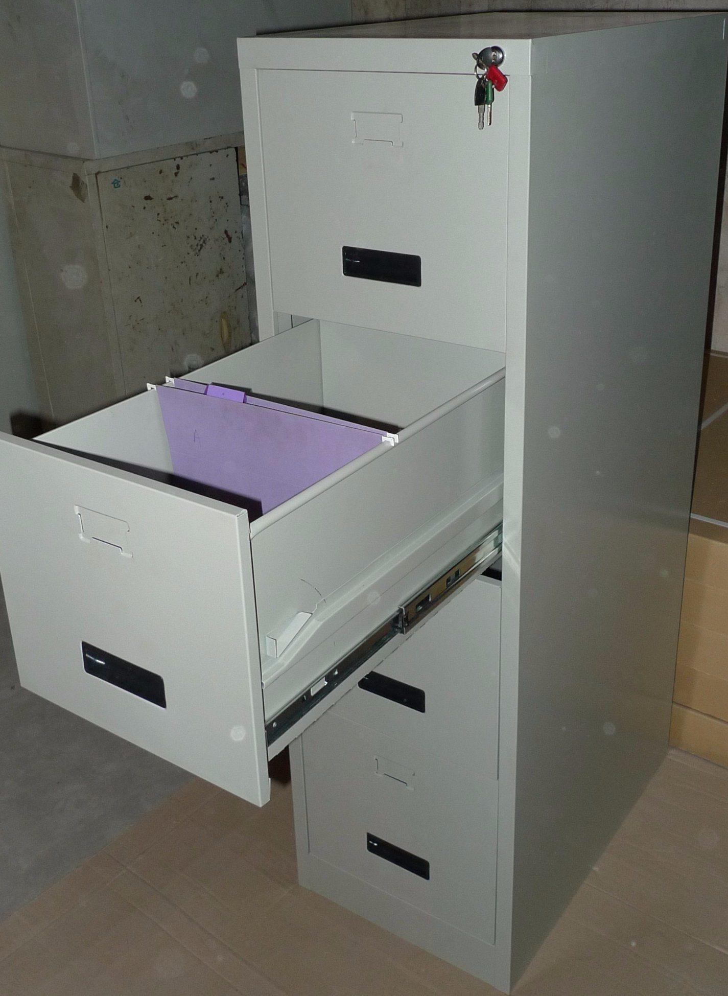 Grey Color 4 Drawer Vertical Filing Storage Cabinet Office Furniture