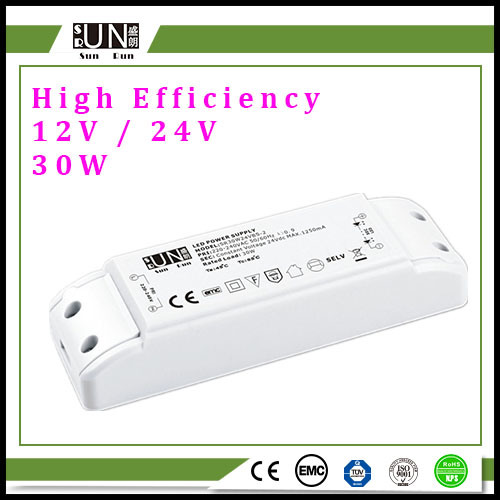 30W 12V 2.5A, High Efficiency, Terminal Type, for LED Lighting, Constant Voltage 12V 30W LED Driver