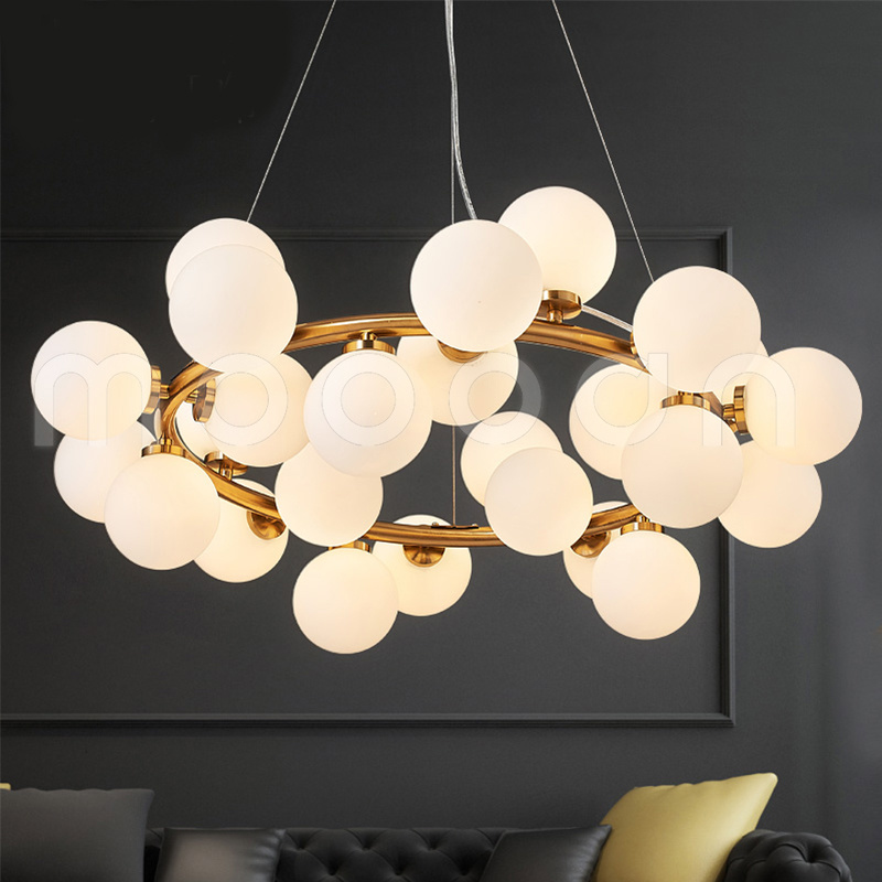 Modern Glass Ball Molecule Circular Pendant Light for Living Room