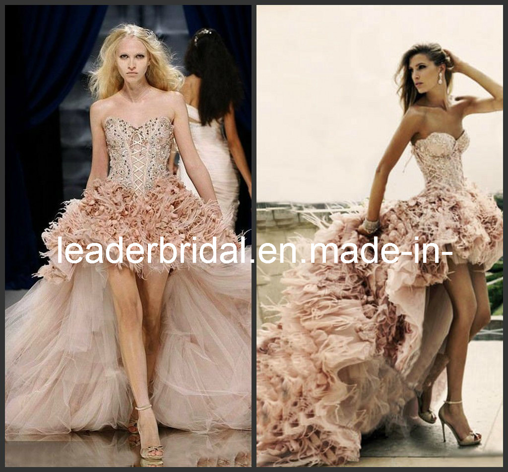 China Strapless Pink Tulle Lace Feather A Line Hi Low