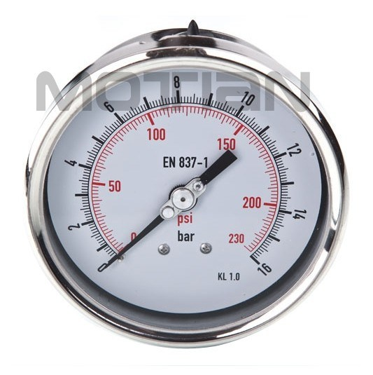 "4"" Glycerine Filled Stainless Steel Case with Screw-in Type Prssure Gauge"