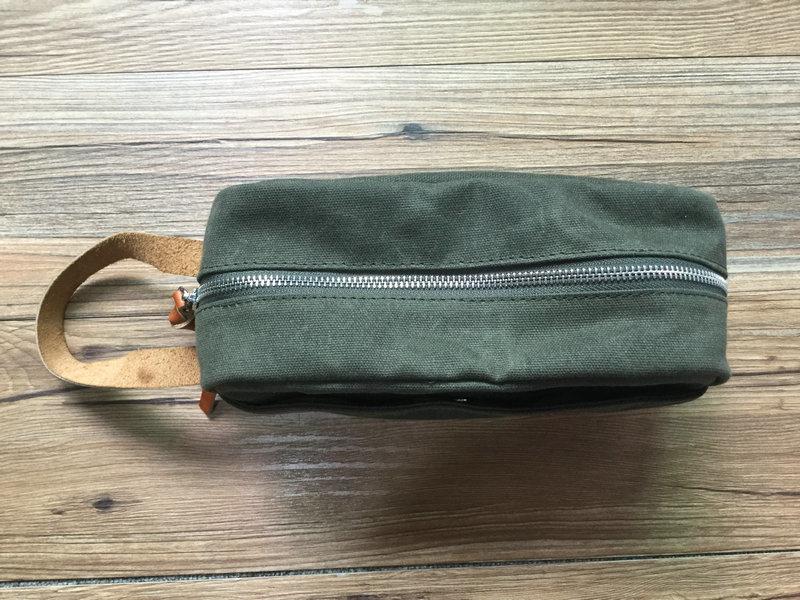Custom High Quality Dopp Kit Waxed Canvas Leather