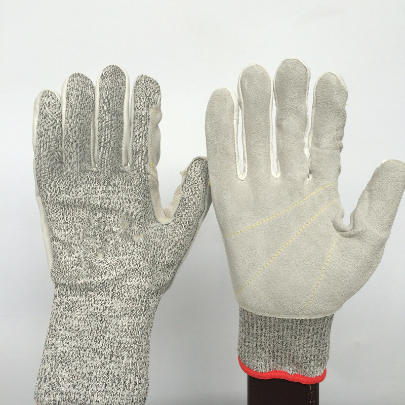 Hppe+Glass Fiber Work Gloves with Leather Sewing, Cut 5