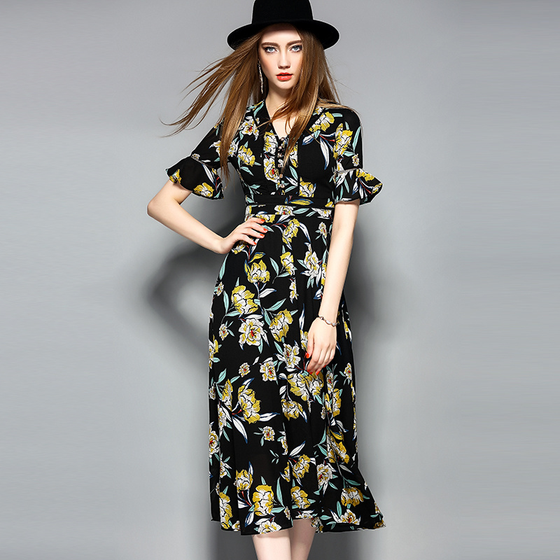 Boho Yellow Printed Women Long Dress with Button