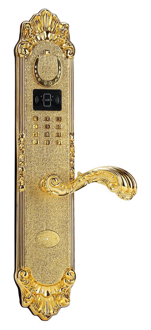 Gold Plated Brass Residential Fingerprint Lock and Password Door Lock