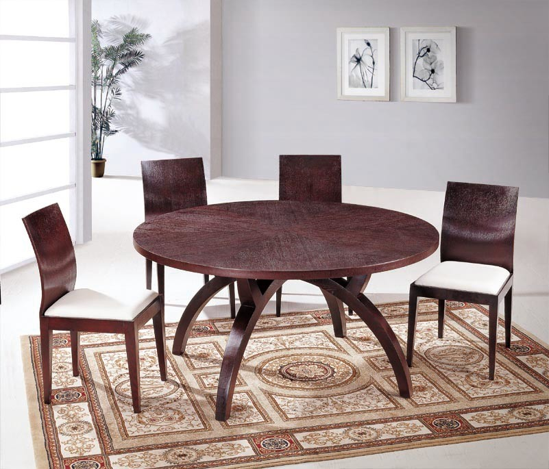 7pc Contemporary Style Cappuccino Finish Solid Wood Dining Table