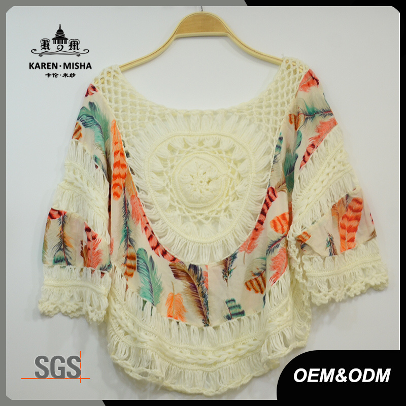 Women Fashion Loose Crochet Patterned Chiffion T-Shirt