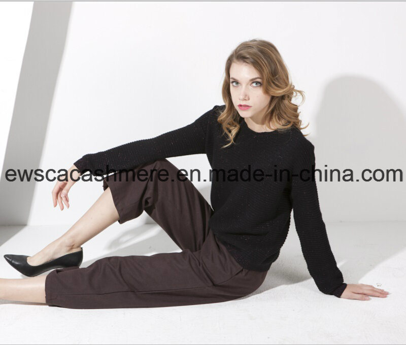 Women′s 100% Pure Cashmere Knitwear with Metallic Yarns