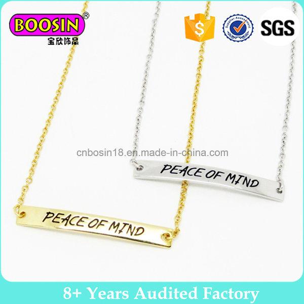 Inspiring Words Custom Metal Logo Charm Gold Jewelry Bar Neckalce with Chain#B109