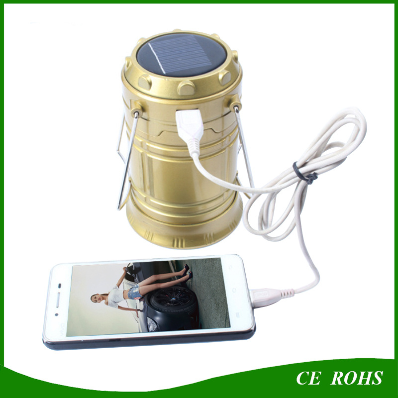 6 LED Rechargeable Solar Camping Lantern Outdoor Emergency Lights with USB Port