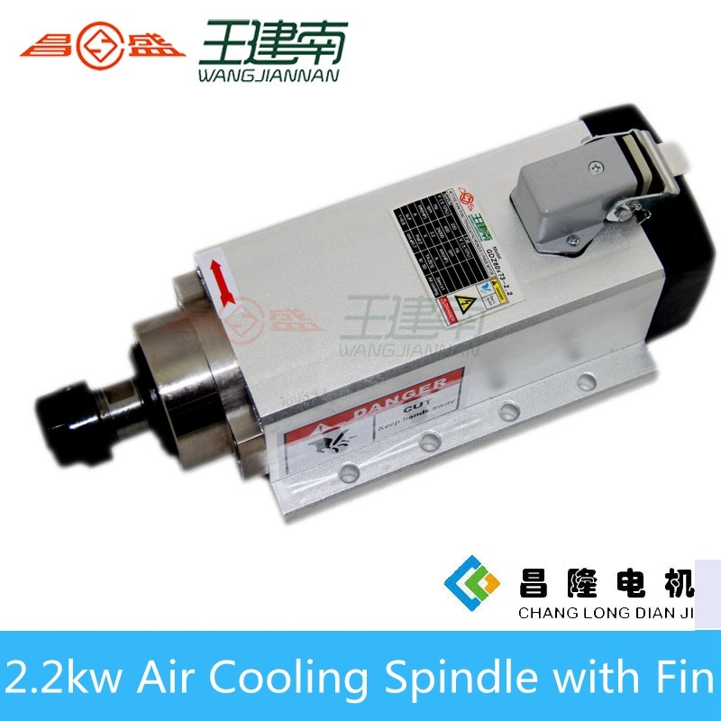 2.2kw 400Hz 24000rpm Er20 Square Air Cooled CNC Spindle with Fin