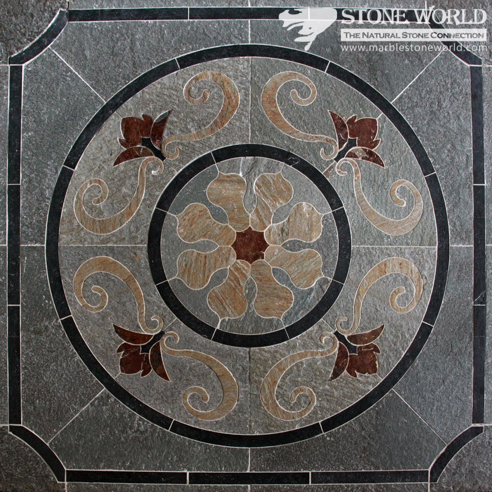 Mixed Color Waterjet Slate Medallion for Flooring/Paving/Lobby Tiles (mm-018)