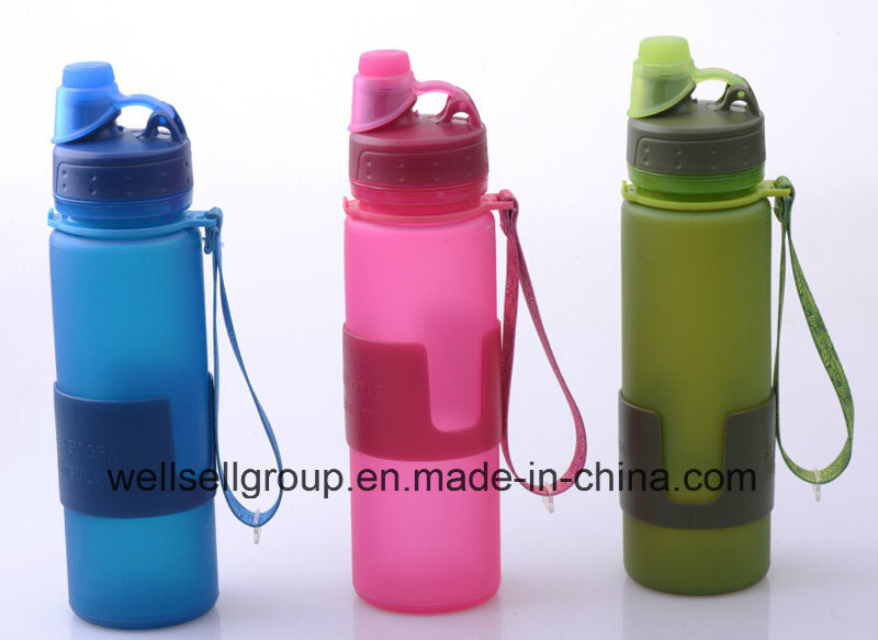 BPA Free Platinum Silicone Foldable Drinking Water Bottles (CPBZ-4101)