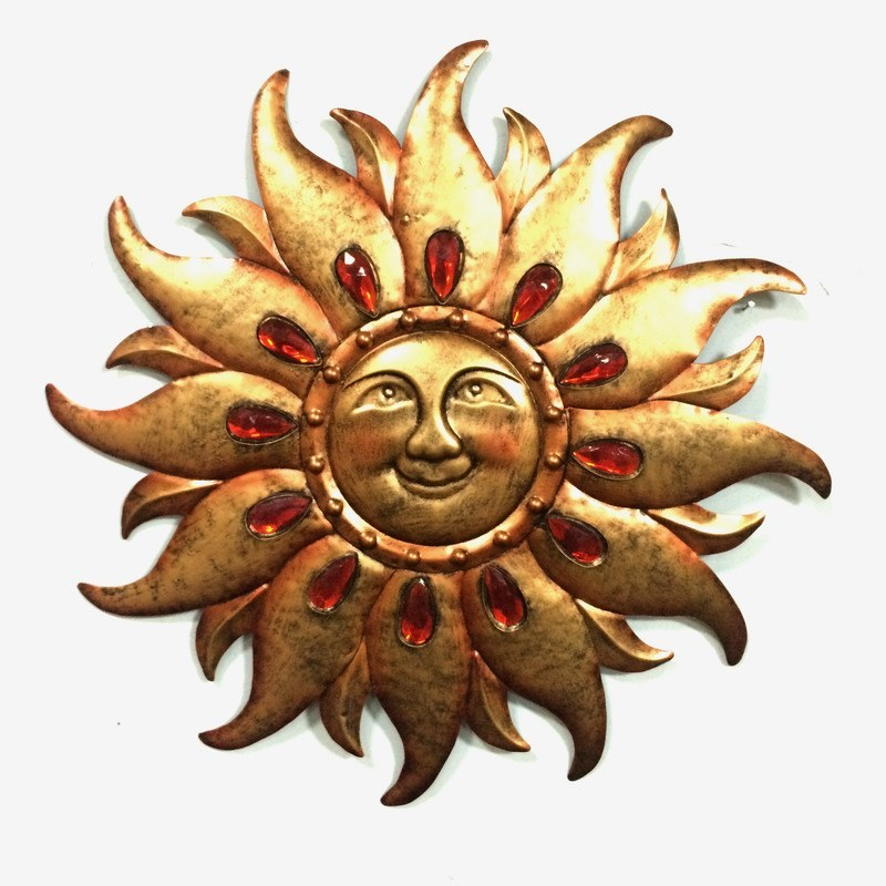 Jewelled Sun Face Metal Wall Decoration for Garden