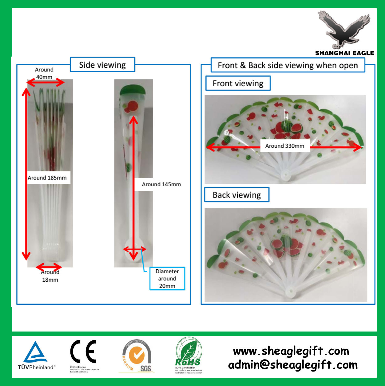 Colorful Printing Folding Plastic Hand Fan as Promotional Gift