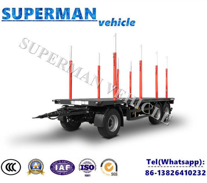 Tri Axle Flatbed Drawbar Full Dolly Truck Semi Trailer with Pole for Wood Carrier