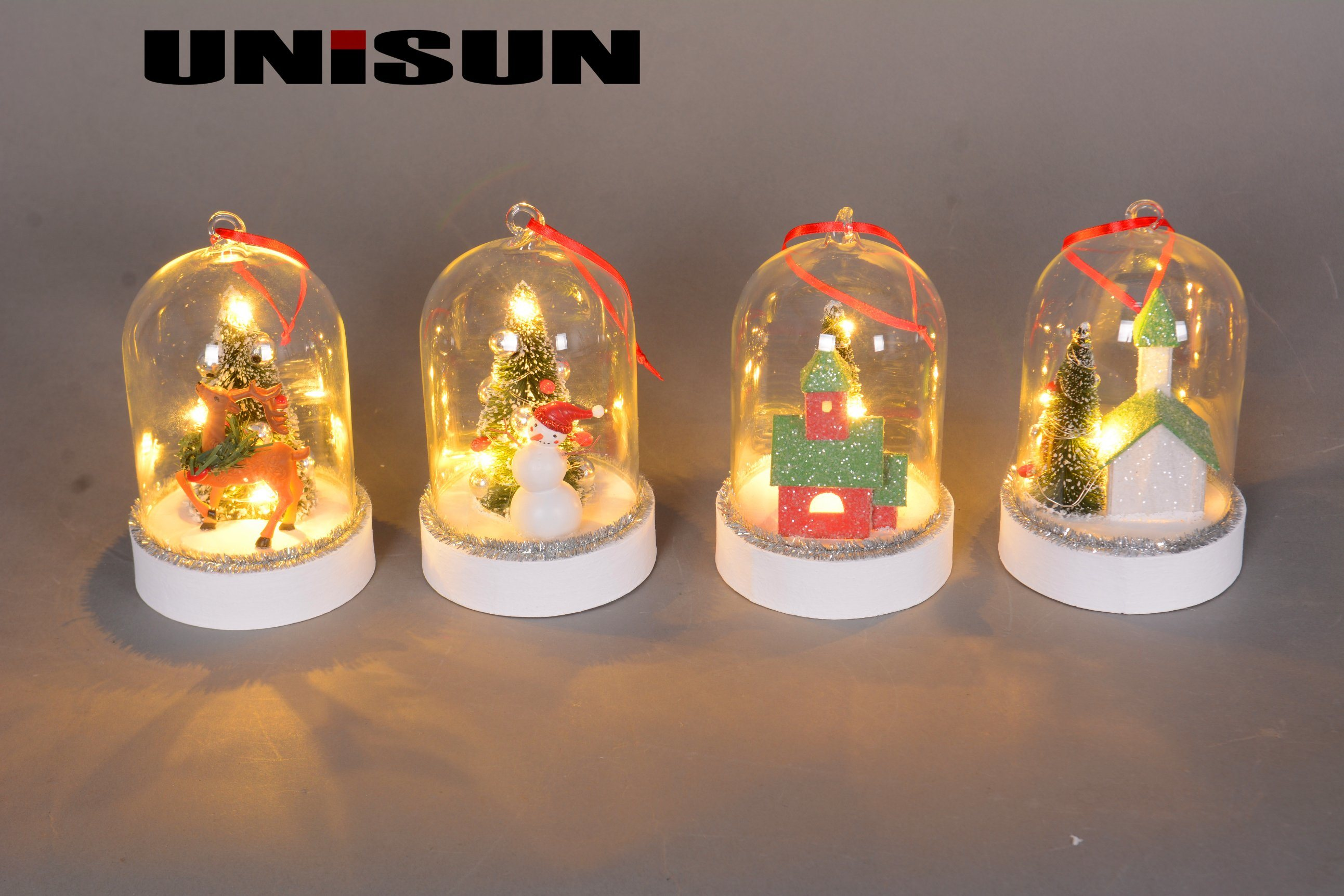 Christmas Decoration Light Glass Craft with Copper String LED Light for Wall Art (18006)