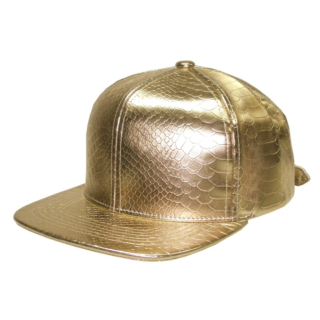 Python Leather Snapback Hat Gold Snakeskin Cap Fashion Flat Peak