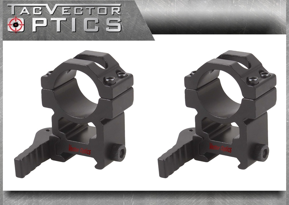 Vector Optics 25.4mm 1 Inch Tactical Quick Release Riflescope High 20mm Picatinny Qd Mount Ring Bracket See Through