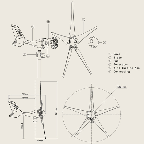High Quality 300W Wind Power Generator for Small House