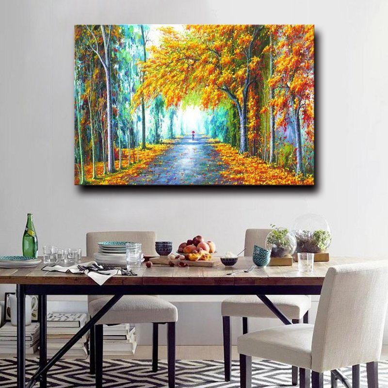 Factory Directly Wholesale100% Handmade Autumn Scenery Landscape Oil Painting on Canvas