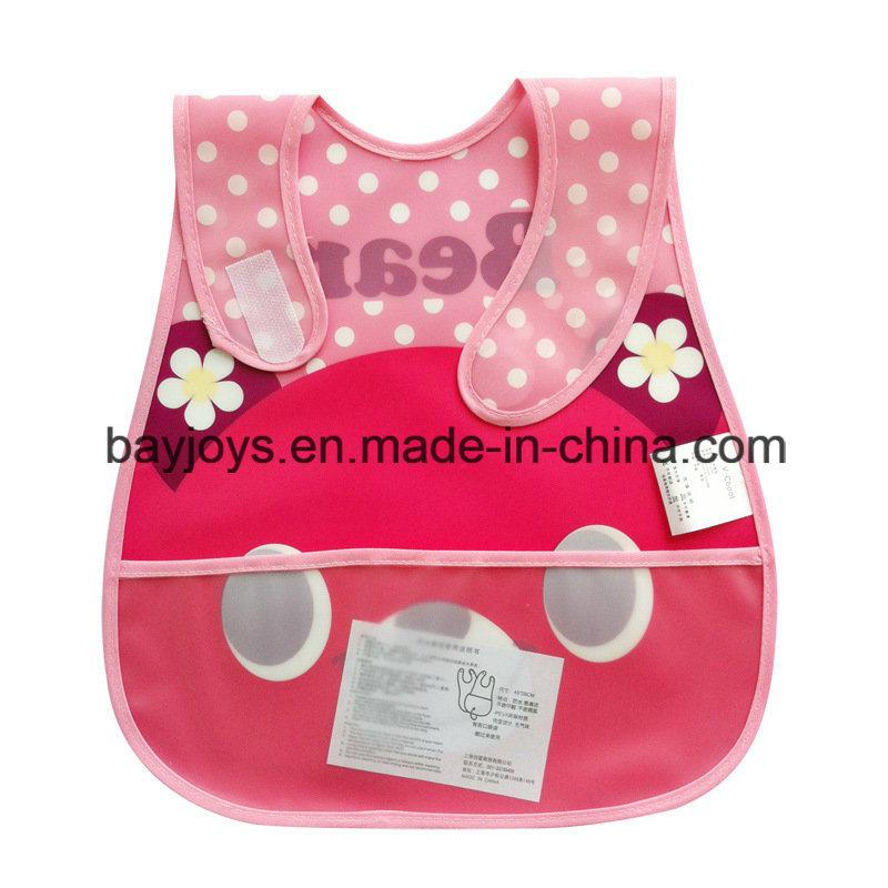 Waterproof PEVA Baby Bib Reversible Pocket - Hook & Loop Closure
