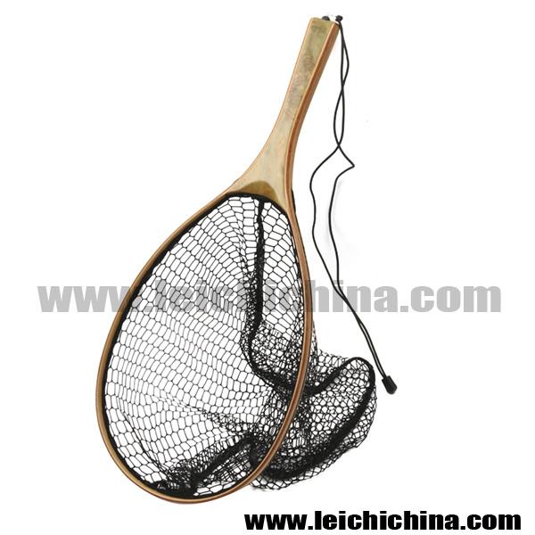 Fly Fishing Wooden Frame Nylon Landing Net with Bottom