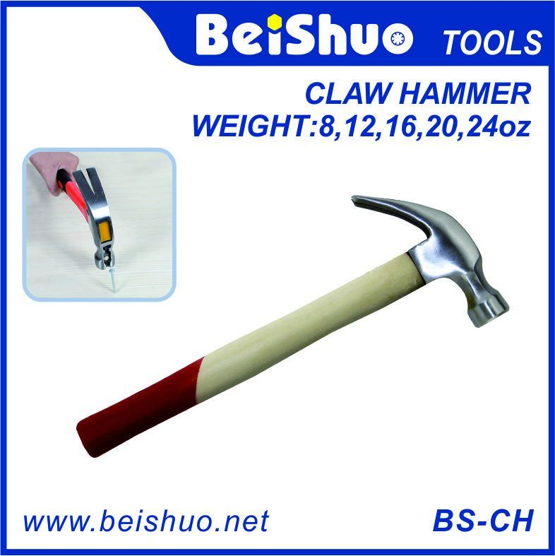 8~24oz Wooden Handle Carbon Steel Claw Hammer