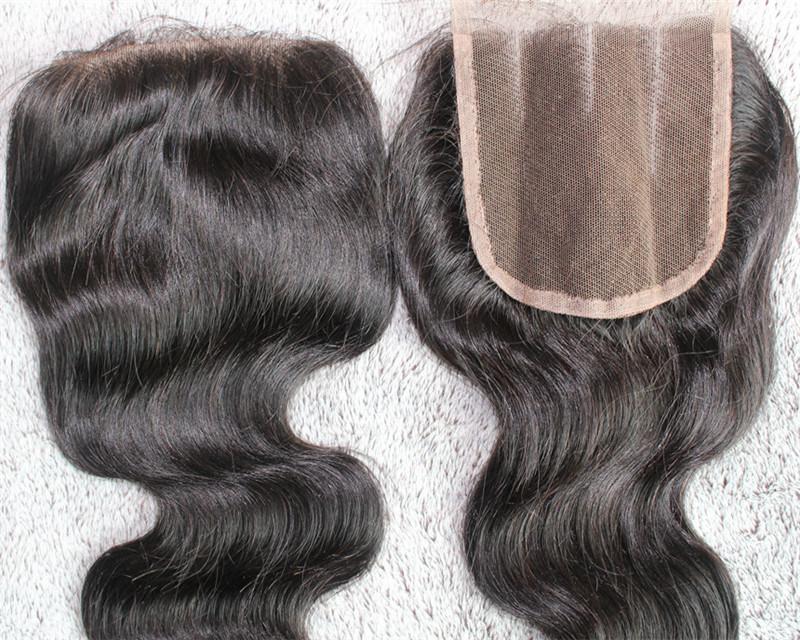 Wholesale Three Part Hair Closure 100% Remy Human Hair Lace Closure