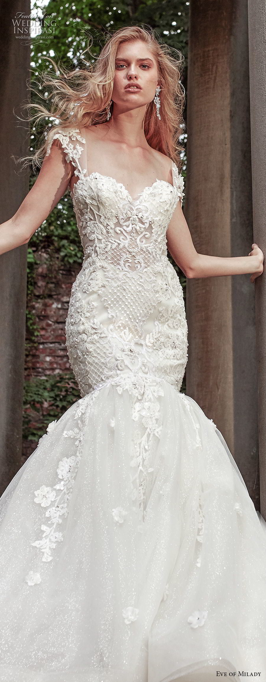 2018 Bridal Evening Gowns Cap Sleeve Lace Mermaid Wedding Dresses Z2081