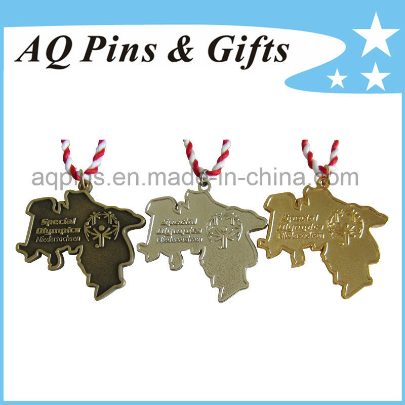 Die Cast Medal in Differnt Plating Colors with Ribbon