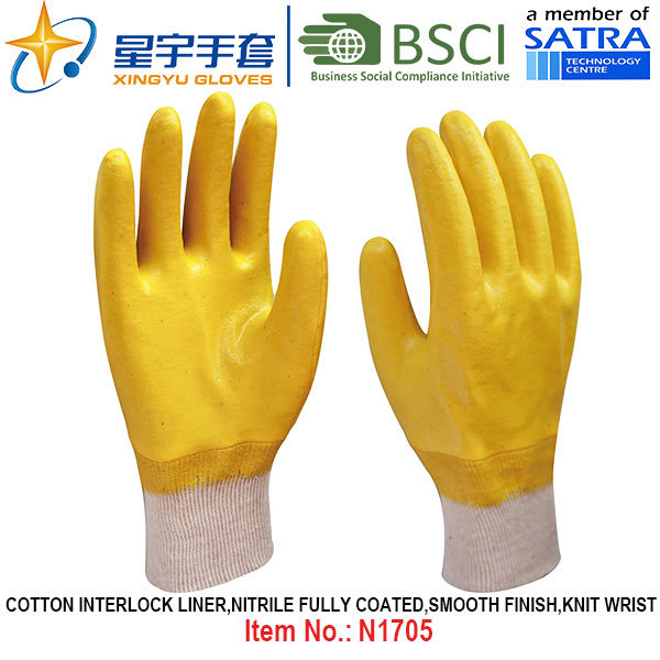 Cotton Interlock Shell Nitrile Coated Safety Work Gloves (N1705)