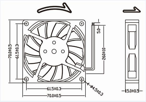 High Quality 70mm 12V Mini Plastic Fan Blade 70X70X15mm