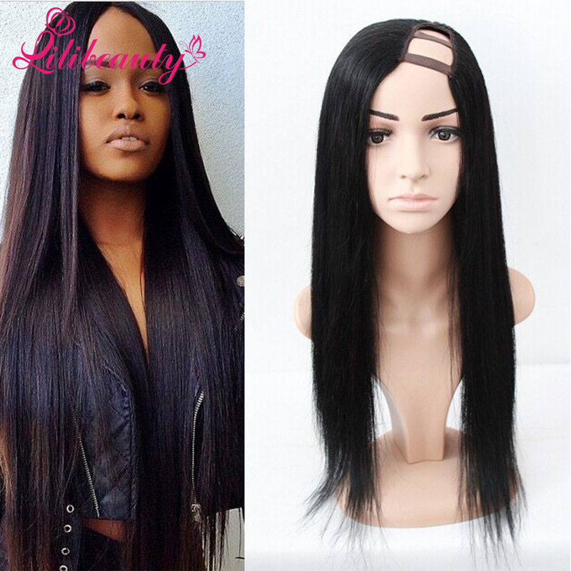 U Part Front Lace Wig with Human Hair