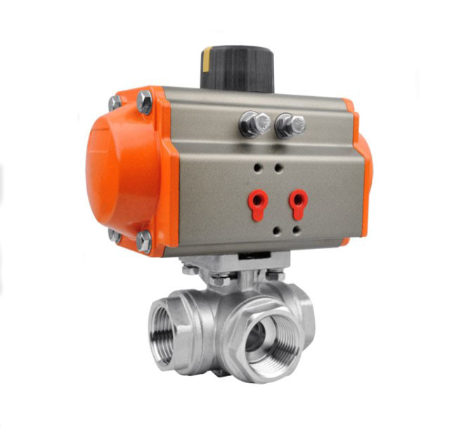 Pneumatic 3 Way Ball Valve Screwed Ends