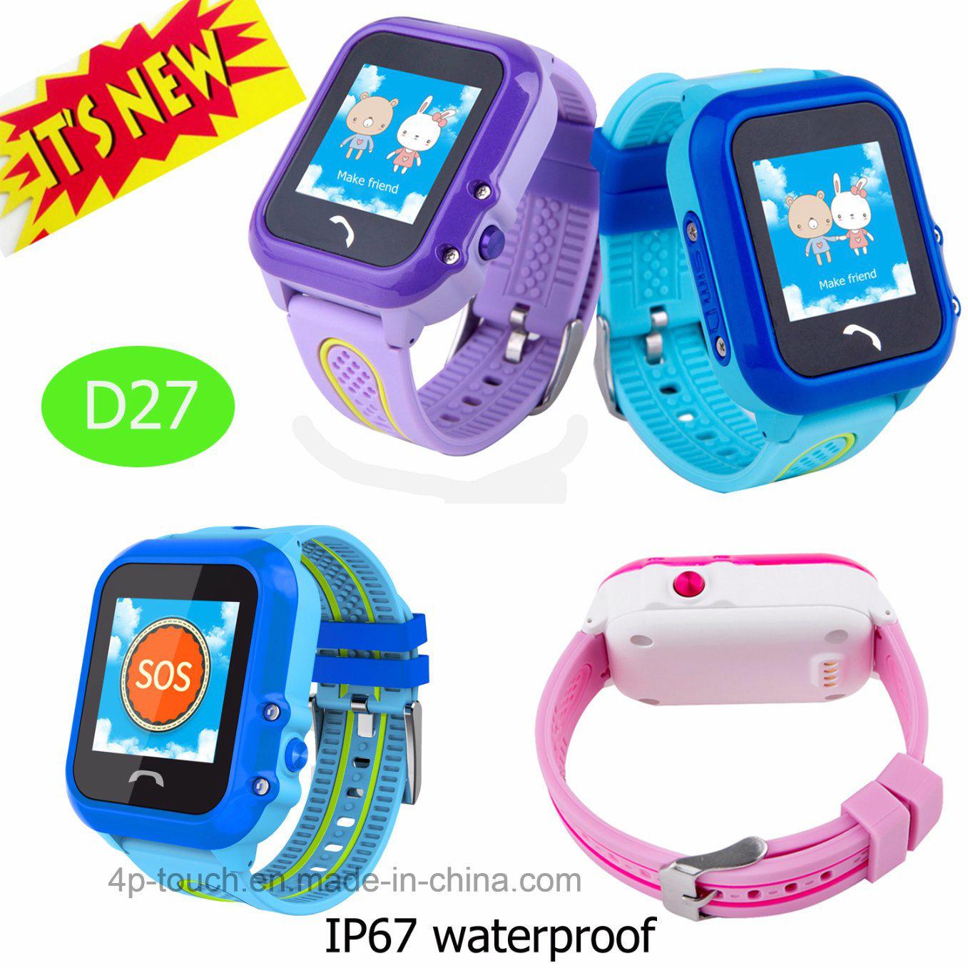 IP67 Waterproof Kids GPS Tracker Watch with Sos Button (D27)