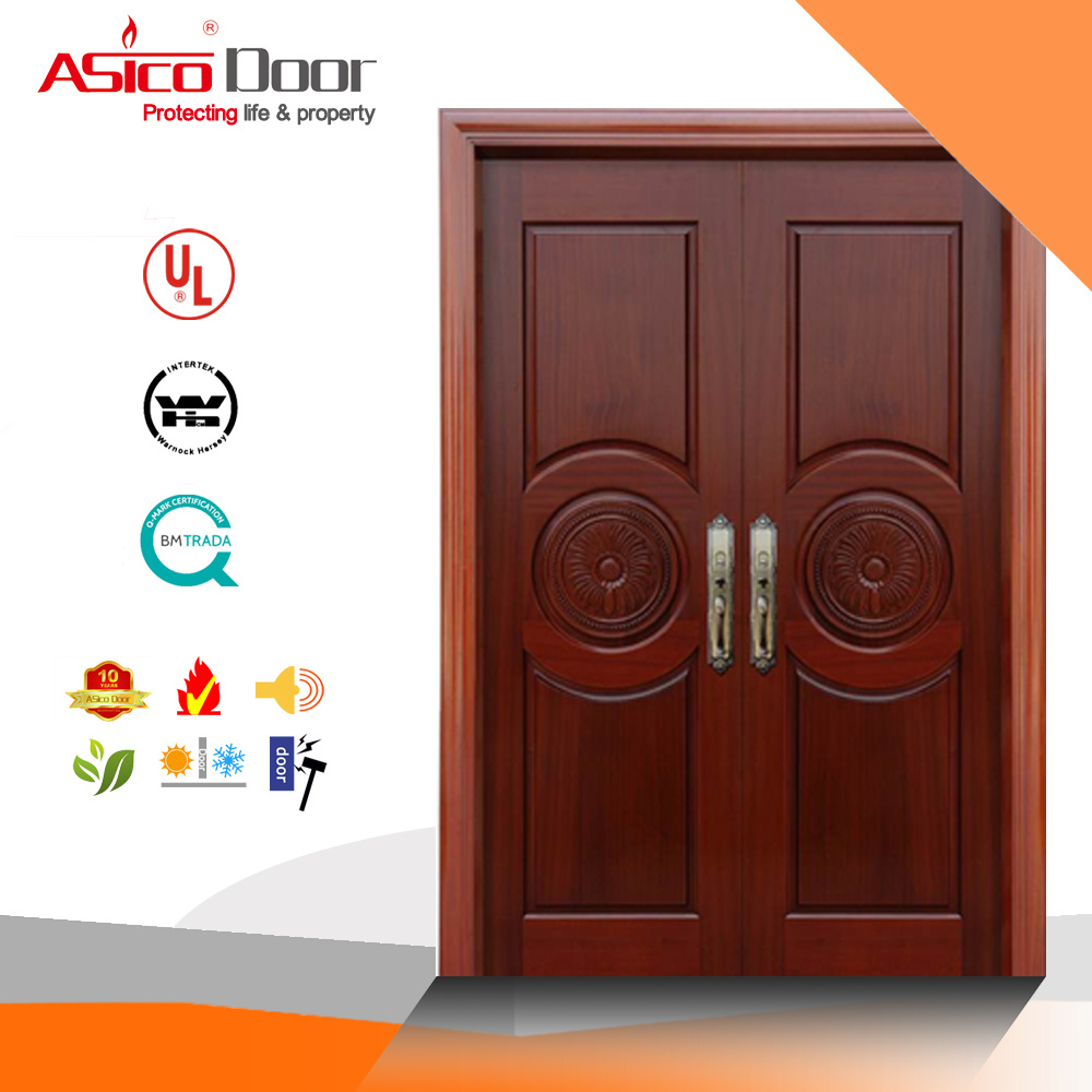 Entrance Wooden Fire Door Apartment Villa Wood Door with Certificate