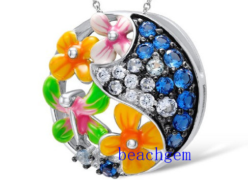 Epoxy Resin Flower Sterling Silver Pendant (P307586)