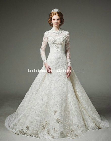 wedding dresses long sleeves high colar