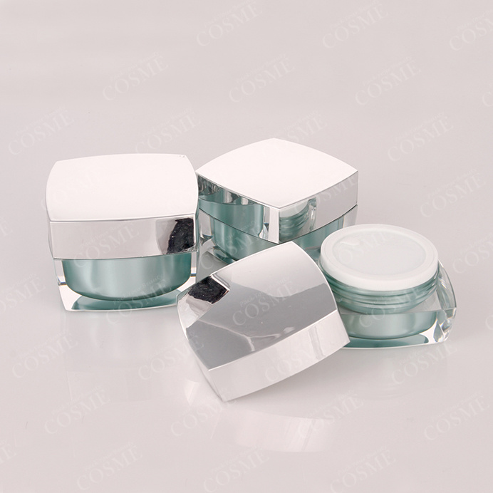 Silver Gold Square Quality Plastic Acrylic Cosmetic Packaging Cream Jar and Bottle